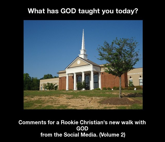 What has GOD taught you today? Comments for a Rookie Christian's new walk with GOD from the Social Media. (Volume 2)