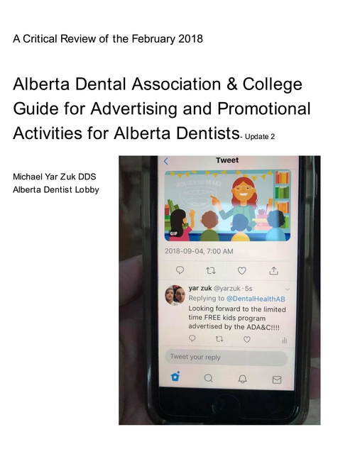 Critical Review of the Alberta Dental Association and College 2018 Advertising Guide