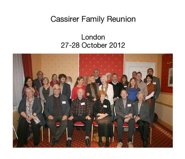 Cassirer Family Reunion London 27-28 October 2012