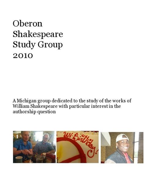 Oberon Shakespeare Study Group 2010