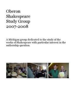 Oberon Shakespeare Study Group 2007-2008