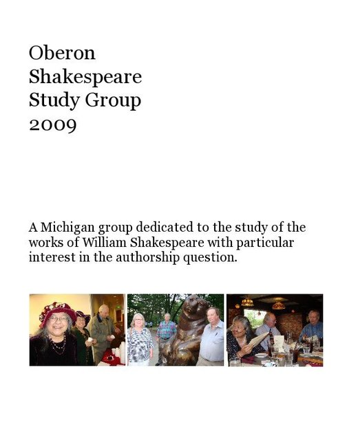 Oberon Shakespeare Study Group 2009
