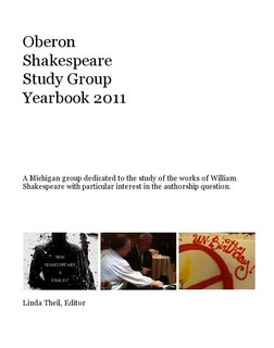 Oberon Shakespeare Study Group Yearbook 2011