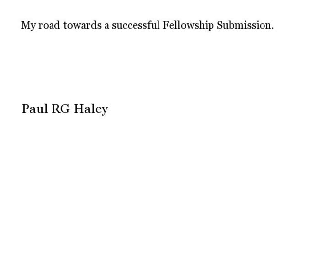 My road towards a successful Fellowship Submission.