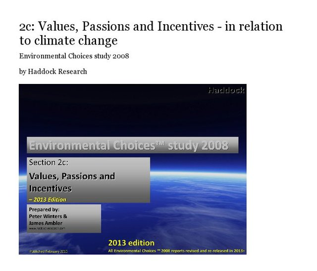 2c: Values, Passions and Incentives - in relation to climate change