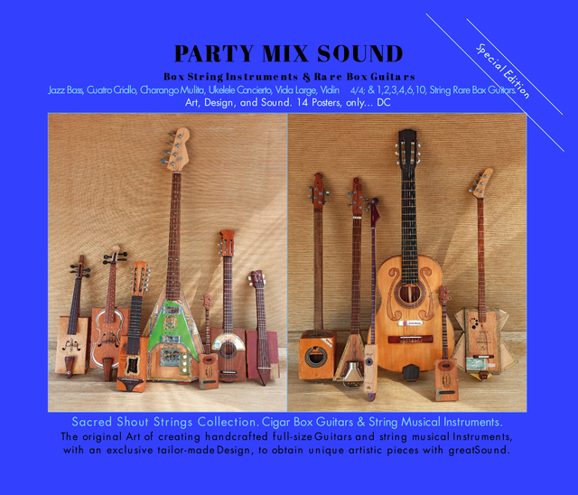 PARTY MIX SOUND. String Instruments and Rare Box Guitars. Art, Design, and Sound. 14 Posters. Special Edition.