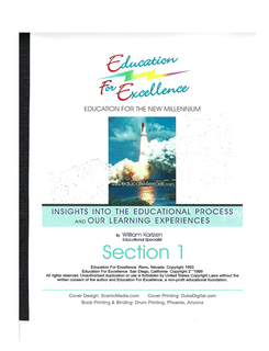 Education For Excellence Section I book cover